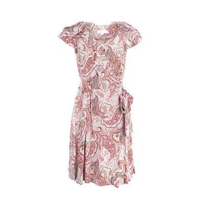 organic pattern ruffle dress red